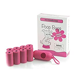 Multi Counts Dog Poop Bags with Dispenser, Dog Waste Bags, Pet Waste Bags (8.5\'\' X 12\'\') EnKo Products (Pink / Green Color)
