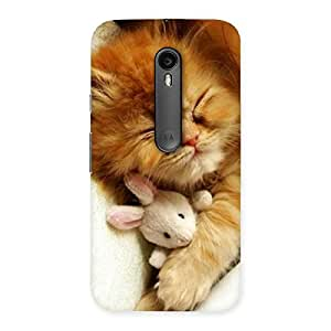 Premium Sleeping Cat with Bunny Multicolor Back Case Cover for Moto G Turbo