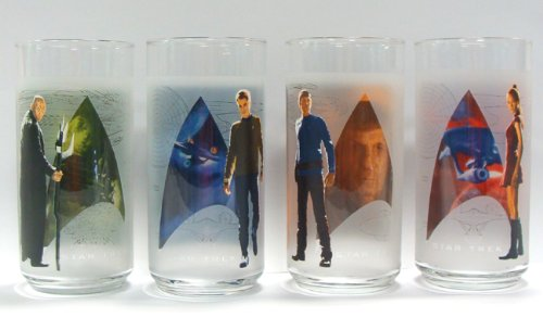 STAR TREK SET OF 4 GLASSES 12OZ - SPOCK, UHURA, NERO & KIRK NIB