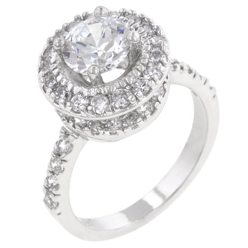 Two Layer Round Cut Clear Cubic Zirconia CZ Engagement Ring in Silver Tone (Size 5,6,7,8,9,10)