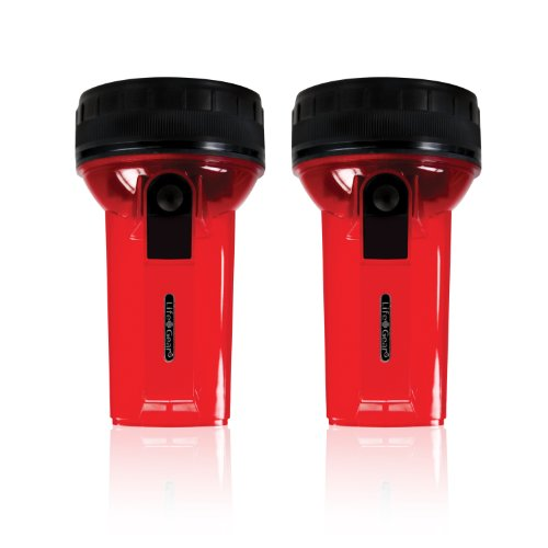 Life Gear Lg438Com Glow Led Mini Spotlight With Storage And Emergency Flasher, Red, 2-Pack