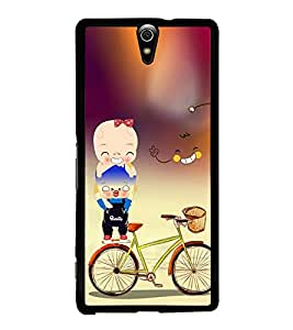 Boy on bicycle carrier Back Case Cover for SONY XPERIA C5