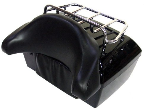 TMS TBOX-JK1001-K Motorcycle Luggage Tour Trunk Tail Box with Top Rack Backrest (Hard Top Luggage Rack compare prices)