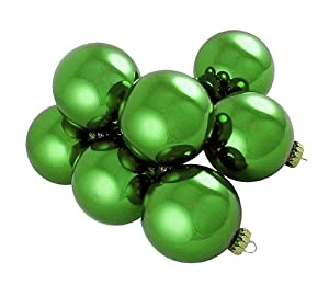 "Pack of 16 Shiny Dasher Green Glass Ball Christmas Ornaments 4"" (100mm)"