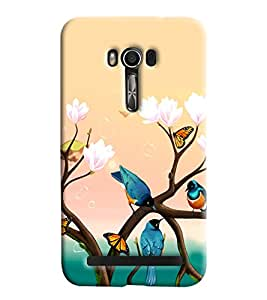 Blue Throat Birds Chirping Printed Designer Back Cover For Asus Zenfone 2 ZE550KL