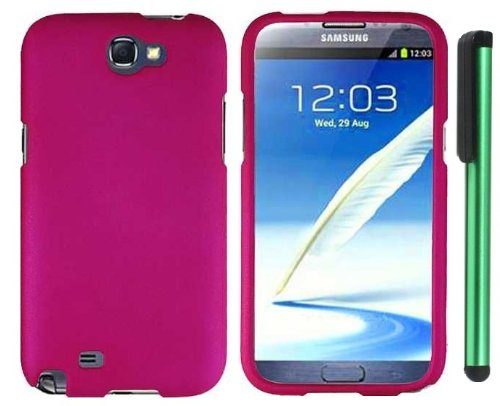$$  Hot Pink Design Protector Hard Cover Case for Samsung Galaxy Note II N7100 (AT&T, Verizon, T-Mobile, Sprint, U.S. Cellular) Android Smart Phone + Combination 1 of New Metal Stylus Touch Screen Pen (4