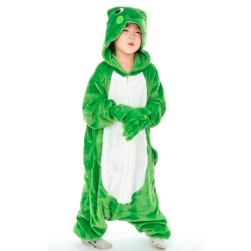 "Zicac Unisex Adult Children Kids Anime Cosplay Costumes Onesie Children and Adult Children Kids Pajamas Pyjamas Sleepwear Nightclothes Cosplay Gift For Hallowmas (Children Height 100-110cm(39""-43""), Green Frog)"