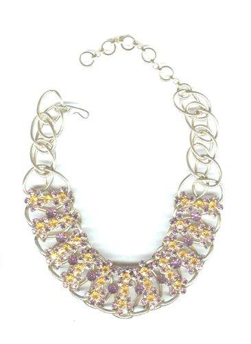 Amethyst & Golden Amber Rhinestones Necklace