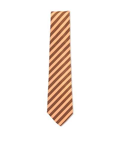 Kiton Men's Diagonal Striped Tie, Brown/Peach