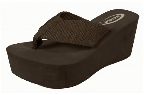 Oxley! By Soda Platform Wedge Nylon Eva Flip-Flop Sandal, Brown, 6.5 M