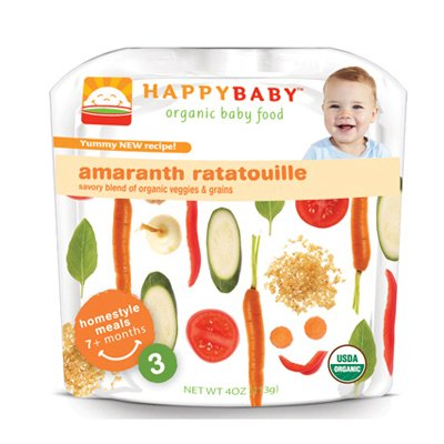 HappyBaby - Organic Baby Food Stage 3 Meals Ages 7+ Months Amaranth Ratatouille - 4 oz. Pouch