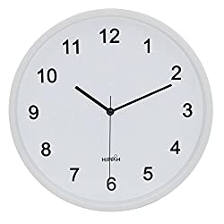 Hippih 10 Silent Quartz Decorative Wall Clock with Glass Cover Non-ticking Digital(white number)
