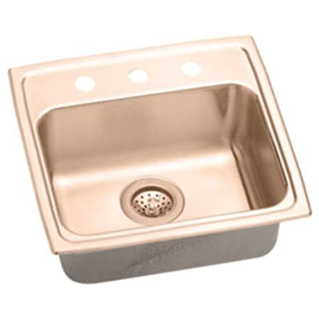 Elkao|#Elkay LRAD2022400-CU Elkay 18 Gauge Cuverro Antimicrobial copper 19.5 Inch x 22 Inch x 4 Inch single Bowl Top Mount Sink,