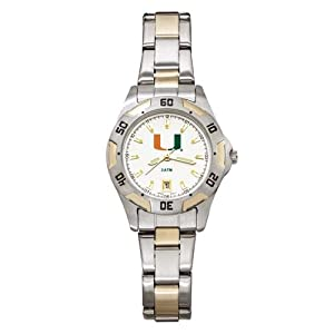 NCAA Miami Hurricanes Ladies All-Pro Two-Tone Watch by Logo Art