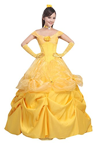 Halloween 2017 Disney Costumes Plus Size & Standard Women's Costume Characters - Women's Costume Characters Women's Halloween Deluxe Bell Costume Outfit Princess Fancy Dress (XS-3X)