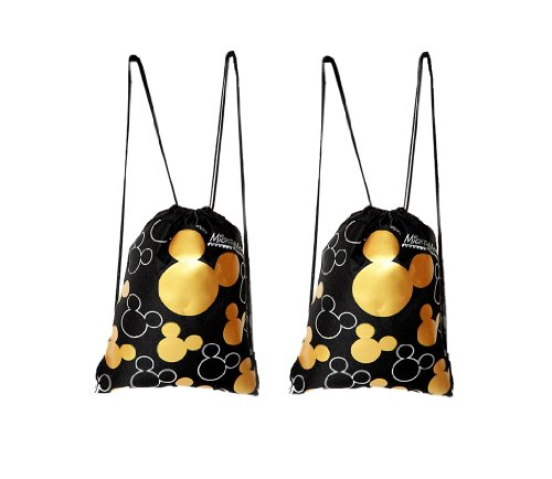 Disney Mickey Mouse Drawstring Backpack Gold 2 Pack - 1