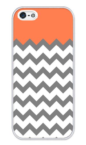 41KhGAmBAOL + Chevron White Grey Coral Stripes iphone 5 case   Fits iphone 5 AT&T, Sprint, Verizon Big Sale
