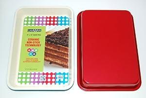 casaWare Ceramic Coated NonStick 9 X 13 x 2-Inch Rectangular Cake Pan (Cream Red) by casaWare