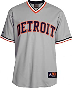 MLB Detroit Tigers Mens Cooperstown Throwback Replica Jersey, Grey by Majestic