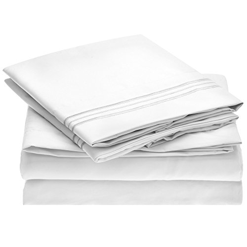 Harmony Linens Bed Sheet Set - 1800 Double Brushed Microfiber Bedding - 4 Piece (Full, White) (Full Sheet Set Hotel compare prices)