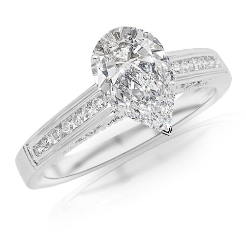 1.4 Carat Classic Channel Set Diamond Engagement Ring w/ Pear Shape Center (J Color VS1 Clarity)