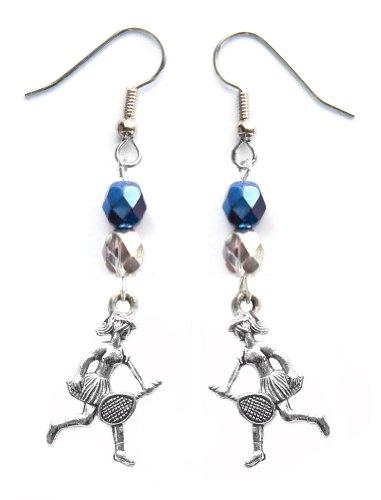 """""""Tennis Girl"""" Tennis Earrings (Team Colors Navy Blue & Silver)"""