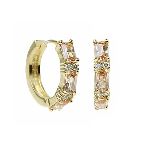 Studio 925 Portia Champagne CZ Baguette 18K Yellow Gold Vermeil Huggie Hoop Earrings