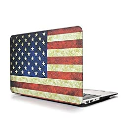 Angibabe Retro American Flag Matte Rubberized Full Hard Case for Macbook Air 11.6\