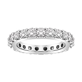18k White Gold Bead-Set Diamond Eternity Ring (3.00 cttw, G-H Color, SI1-SI2 Clarity), Size 6