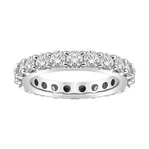Platinum Bead-Set Diamond Eternity Ring (3 3/8 cttw, G-H Color, VS1-VS2 Clarity), Size 6.5