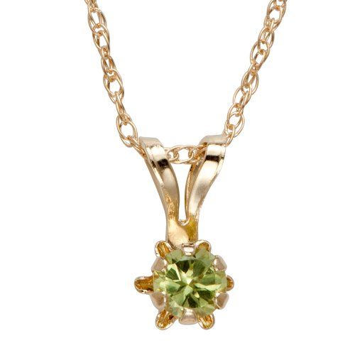 14k Yellow Gold Round Genuine Peridot Children's Buttercup Pendant Necklace (3mm ), 18