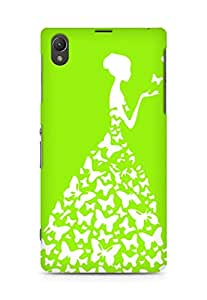AMEZ designer printed 3d premium high quality back case cover for Sony Xperia Z1 (bright green white girl princess)