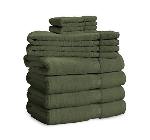 900 Gram 8-Piece Egyptian Cotton Towel Set - Heavy Weight & Absorbent by ExceptionalSheets, Forest Green (Turkish Bath Sheet 900 Gsm compare prices)