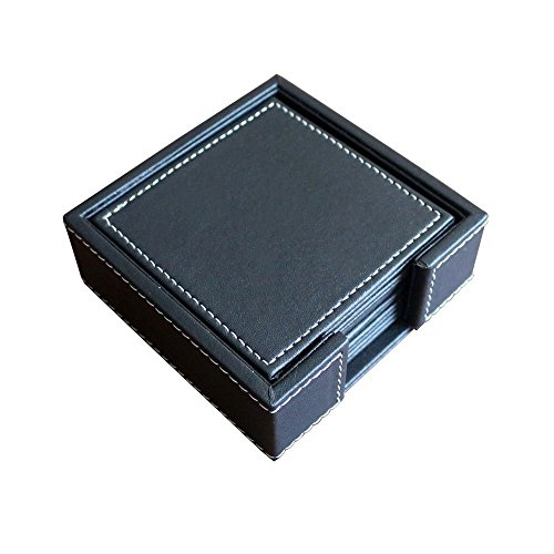 PINMEI Black Leather Drink Coasters with Holder Set of 6, Square, 10x10CM(3.94inch)