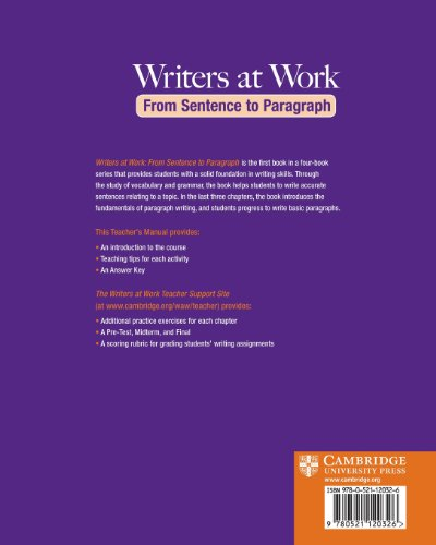Writers at Work: From Sentence to Paragraph Teacher's Manual