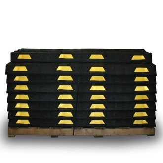 Pallet of 60 Yellow Striped Wheel Stops with 240 Lag Screws and Shields