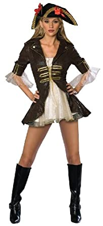 Secret Wishes Sexy Buccaneer Costume, Brown/Cream, X-Small