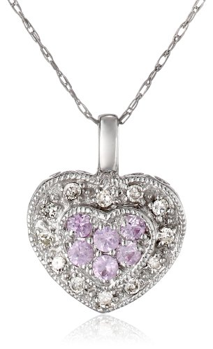 10K White Gold Diamond And Pink Sapphire Heart-Shaped Pendant (0.08 Cttw, I-J Color, I2-I3 Clarity), 18""