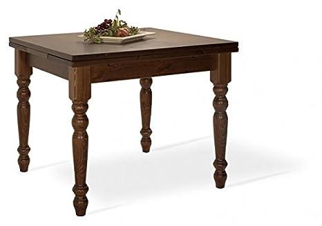 Tavolo allungabile in legno di pino 80x80-Colore Noce