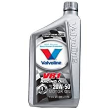 Valvoline VV211 VR1 Racing Formula SAE 20W-50 Turbo Approved Motor Oil - 1 Quart Bottle (Case of 12)