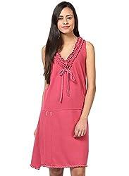 Grain Red Cotton Garment Dyed Dress for women