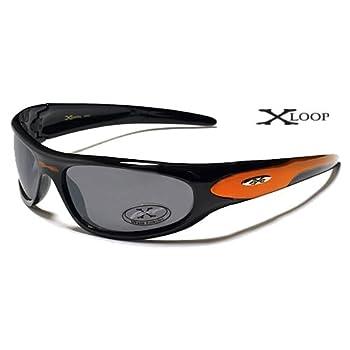 X-Loop Lunettes de Soleil - Sport - Cyclisme - Ski - Conduite - Motard / Mod. 1200 Noir Orange / Taille Unique Adulte / Protection 100% UV400