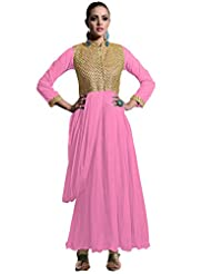 Suchi Fashion Heavy Embroidery Light Pink Net Stitched Floor Length Anarkali Party Wear Gown
