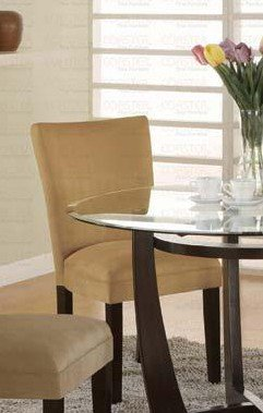 Set of 2 Parson Dining Chairs Gold Ochre Microfiber