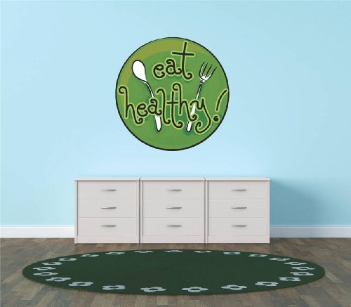 Decal - Vinyl Wall Sticker : Eat Healthy ! Kitchen Food Cooking Living Room Bedroom Kitchen Home Decor Picture Art Image Peel & Stick Graphic Mural Design Decoration - Discounted Sale Item - Size : 30 Inches X 30 Inches - 22 Colors Available front-459682