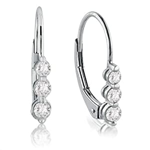Click to buy 10K White Gold Three-Stone Diamond Lever-Back Earrings from Amazon!