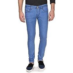 Routeen Men's Slim Fit Light Blue Cotton Jeans