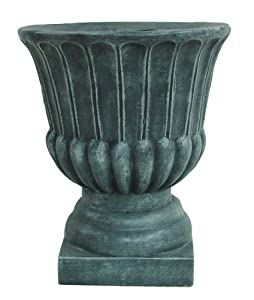 Barcana antique grey stone urn pot christmas tree stand for Permanent tree stand