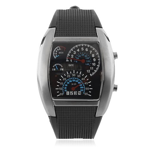 {Factory Direct Sale} Rpm Turbo Blue Flash Led Watch Digital Men'S Watch Sports Car Meter Dial Rubber - Christmas Gift