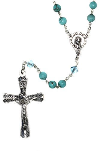 Silver Rosary made with Magnesite Turquoise Blue Gemstones & Swarovski Crystal elements (Gem Stone Rosary compare prices)